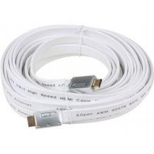Кабель AOPEN HDMI 19M/M 1.4V+3D/Ethernet, белый, 10 метров, плоский