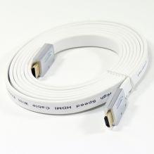 Кабель AOPEN HDMI 19M/M 1.4V+3D/Ethernet, белый, 3 метра, плоский