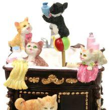 """Музыкальный сувенир """"Умывальник с котятами"""" (движение, музыка) 14*10,5*10 см."""