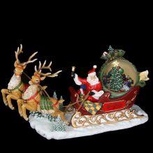 """Новогодняя композиция """"Санта в санях """" 35.5*12.7*20.3 см (музыкальный)"""